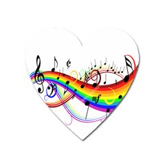 Color Music Notes Heart Magnet
