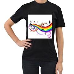 Color Music Notes Women s T-Shirt (Black)