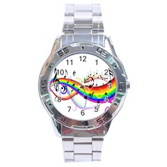 Color Music Notes Stainless Steel Analogue Watch