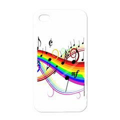 Color Music Notes Apple iPhone 4 Case (White)