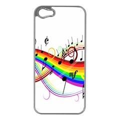 Color Music Notes Apple iPhone 5 Case (Silver)