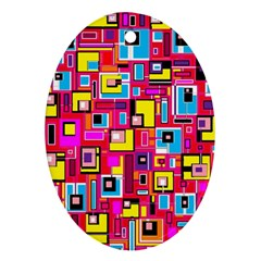 File Digital Disc Red Yellow Rainbow Ornament (Oval)