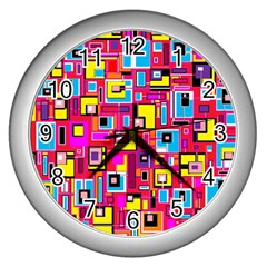 File Digital Disc Red Yellow Rainbow Wall Clocks (Silver)