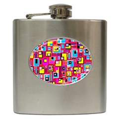 File Digital Disc Red Yellow Rainbow Hip Flask (6 Oz)