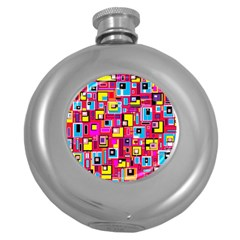 File Digital Disc Red Yellow Rainbow Round Hip Flask (5 Oz)