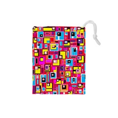 File Digital Disc Red Yellow Rainbow Drawstring Pouches (Small)