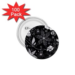Floral Flower Rose Black Leafe 1.75  Buttons (100 pack)