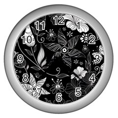 Floral Flower Rose Black Leafe Wall Clocks (silver)