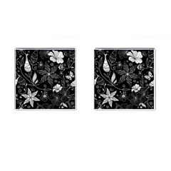 Floral Flower Rose Black Leafe Cufflinks (square)