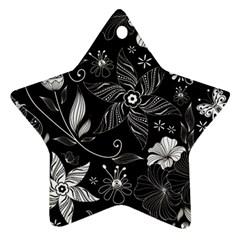 Floral Flower Rose Black Leafe Star Ornament (Two Sides)