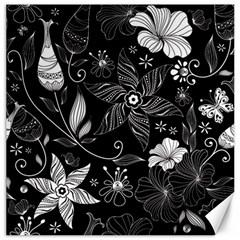 Floral Flower Rose Black Leafe Canvas 12  x 12