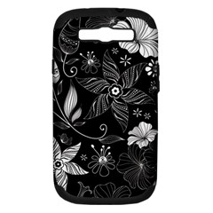 Floral Flower Rose Black Leafe Samsung Galaxy S III Hardshell Case (PC+Silicone)