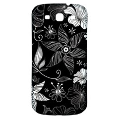 Floral Flower Rose Black Leafe Samsung Galaxy S3 S III Classic Hardshell Back Case