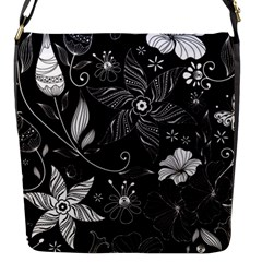 Floral Flower Rose Black Leafe Flap Messenger Bag (S)