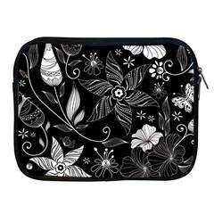 Floral Flower Rose Black Leafe Apple iPad 2/3/4 Zipper Cases