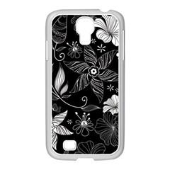 Floral Flower Rose Black Leafe Samsung Galaxy S4 I9500/ I9505 Case (white)