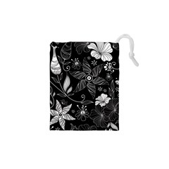 Floral Flower Rose Black Leafe Drawstring Pouches (xs)