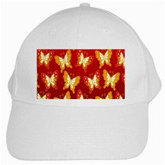 Butterfly Gold Red Yellow Animals Fly White Cap