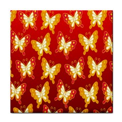 Butterfly Gold Red Yellow Animals Fly Tile Coasters