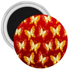 Butterfly Gold Red Yellow Animals Fly 3  Magnets