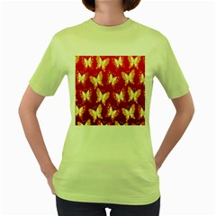 Butterfly Gold Red Yellow Animals Fly Women s Green T-Shirt