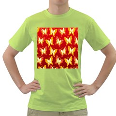 Butterfly Gold Red Yellow Animals Fly Green T-Shirt