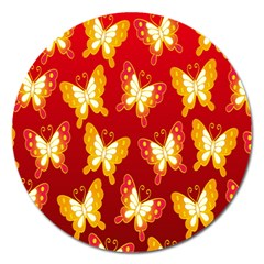 Butterfly Gold Red Yellow Animals Fly Magnet 5  (round)