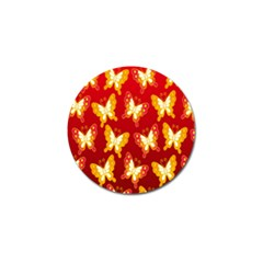 Butterfly Gold Red Yellow Animals Fly Golf Ball Marker