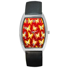 Butterfly Gold Red Yellow Animals Fly Barrel Style Metal Watch