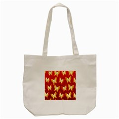 Butterfly Gold Red Yellow Animals Fly Tote Bag (Cream)