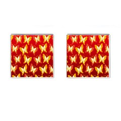 Butterfly Gold Red Yellow Animals Fly Cufflinks (Square)