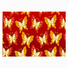 Butterfly Gold Red Yellow Animals Fly Large Glasses Cloth (2-Side)