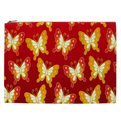 Butterfly Gold Red Yellow Animals Fly Cosmetic Bag (XXL)