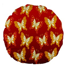Butterfly Gold Red Yellow Animals Fly Large 18  Premium Round Cushions