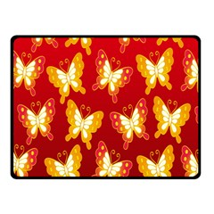 Butterfly Gold Red Yellow Animals Fly Double Sided Fleece Blanket (Small)