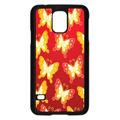 Butterfly Gold Red Yellow Animals Fly Samsung Galaxy S5 Case (Black)