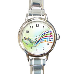 Color Musical Note Waves Round Italian Charm Watch