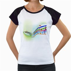 Color Musical Note Waves Women s Cap Sleeve T