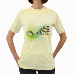 Color Musical Note Waves Women s Yellow T-Shirt