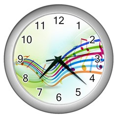 Color Musical Note Waves Wall Clocks (silver)