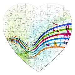 Color Musical Note Waves Jigsaw Puzzle (heart)