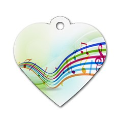 Color Musical Note Waves Dog Tag Heart (One Side)