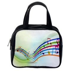 Color Musical Note Waves Classic Handbags (One Side)