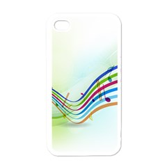 Color Musical Note Waves Apple iPhone 4 Case (White)