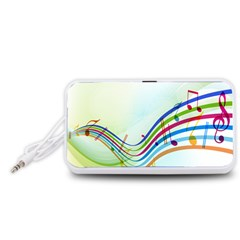 Color Musical Note Waves Portable Speaker (White)