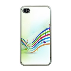 Color Musical Note Waves Apple iPhone 4 Case (Clear)