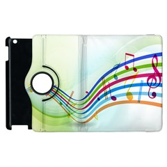 Color Musical Note Waves Apple iPad 2 Flip 360 Case