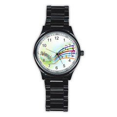 Color Musical Note Waves Stainless Steel Round Watch