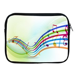 Color Musical Note Waves Apple iPad 2/3/4 Zipper Cases