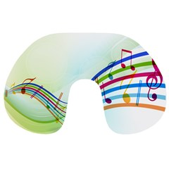 Color Musical Note Waves Travel Neck Pillows
